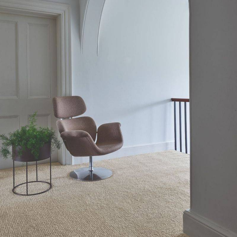 beige carpet with chair next to bannister