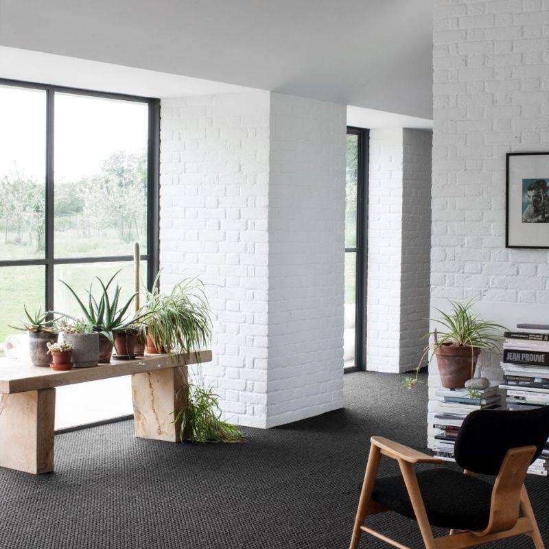 black patterned carpet in living room